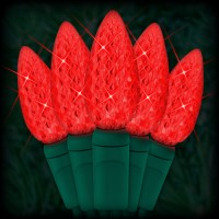 "LED red Christmas lights 35 C6 LED strawberry style bulbs 4"" spacing, 12ft. green wire, 120VAC"