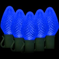 "LED blue Christmas lights 50 C7 faceted LED bulbs 8"" spacing, 34.2ft. green wire, 120VAC"