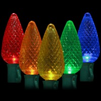 "LED multi color Christmas lights 50 C9 faceted LED bulbs 8"" spacing, 34.2ft. green wire, 120VAC"
