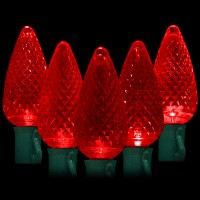 "LED red Christmas lights 50 C9 faceted LED bulbs 8"" spacing, 34.2ft. green wire, 120VAC"