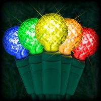"LED multi color Christmas lights 50 G12 mini globe LED bulbs 4"" spacing, 17ft. green wire, 120VAC"