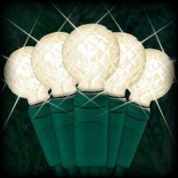 "LED warm white Christmas lights 50 G12 mini globe LED bulbs 4"" spacing, 17ft. green wire, 120VAC"