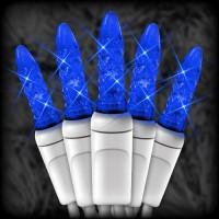 "LED blue Christmas lights 50 M5 mini LED bulbs 6"" spacing, 23ft. white wire, 120VAC"