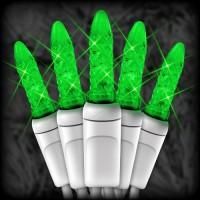 "LED green Christmas lights 50 M5 mini LED bulbs 6"" spacing, 23ft. white wire, 120VAC"