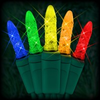 "LED multi color Christmas lights 50 M5 mini LED bulbs 6"" spacing, 23ft. green wire, 120VAC"