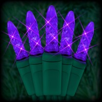 "LED purple Christmas lights 50 M5 mini LED bulbs 6"" spacing, 23ft. green wire, 120VAC"