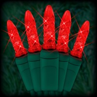 "LED red Christmas lights 50 M5 mini LED bulbs 6"" spacing, 23ft. green wire, 120VAC"