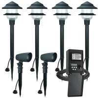 LED Duracell outdoor landscape lighting CB35-6 2 spot 4 path light kit, 45watt power pack photocell, digital time, 75-foot cable