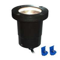 LED outdoor landscape lighting black fiberglass well light with moisture resistant wire connectors