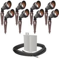 LED outdoor landscape lighting spot kit, 8 spot lights, 40watt power pack photocell, timer, 80-foot cable