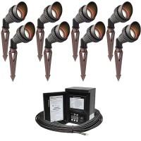 LED outdoor landscape lighting spot kit, 8 spot lights, 45watt power pack photocell, digital timer, 80-foot cable