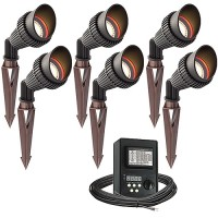 LED outdoor landscape lighting spot kit, 6 spot lights, 45watt power pack photocell, digital timer, 80-foot cable