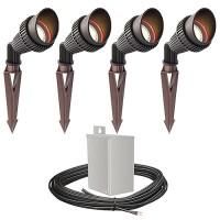 LED outdoor landscape lighting spot kit, 4 spot lights, 40watt power pack photocell, timer, 80-foot cable