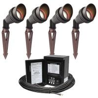 LED outdoor landscape lighting spot kit, 4 spot lights, 45watt power pack photocell, digital timer, 80-foot cable