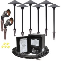 LED outdoor landscape lighting spot path kit, 2 spot lights, 6 path lights, Malibu 45watt power pack photocell, digital timer, 80-foot cable