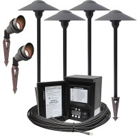 LED outdoor landscape lighting spot path kit, 2 spot lights, 4 path lights, Malibu 45watt power pack photocell, digital timer, 80-foot cable