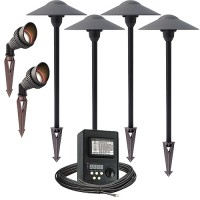 LED outdoor landscape lighting spot path kit, 2 spot lights, 4 path lights, 45watt power pack photocell, digital timer, 80-foot cable