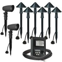LED outdoor landscape lighting spot path kit, 2 spot lights, 6 path lights, Maximus 45watt power pack photocell, digital timer, 80-foot cable