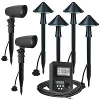 LED outdoor landscape lighting spot path kit, 2 spot lights, 4 path lights, Maximus 45watt power pack photocell, digital timer, 80-foot cable