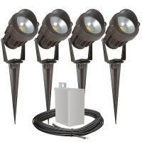 Pro LED outdoor landscape lighting kit, four spot lights, 40watt power pack photocell, timer, 80-foot cable