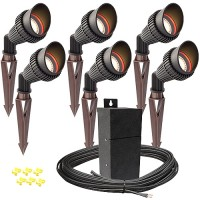 Pro LED outdoor landscape lighting 6 spot light kit EMCOD 100watt power pack photocell, mechanical timer, 80-foot cable