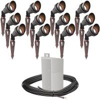 Pro LED outdoor landscape lighting 12 spot light kit EMCOD 100watt power pack photocell, mechanical timer, 160-foot cable