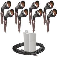 Pro LED outdoor landscape lighting 8 spot light kit EMCOD 100watt power pack photocell, mechanical timer, 160-foot cable