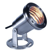 Stainless underwater pond light with grill