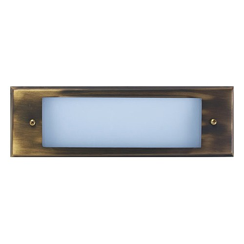 Outdoor Low Voltage Antique Brass Glass Lens Rectangle