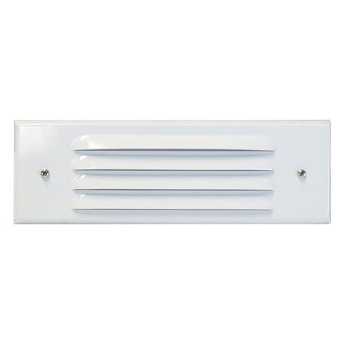 Outdoor Light Covers: Outdoor Low Voltage Louvered White Glass Lens Rectangle
