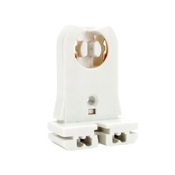 Fluorescent tall profile, medium bi-pin, slide on, non-shunted socket for 20gauge fixtures for T8 LED lamp conversions