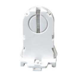 Fluorescent tall rotary lock medium bi-pin snap in with nib non-shunted socket for T8 LED lamps