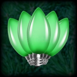 LED green C7 Christmas bulbs smooth, replacement, spare, 25 pack, 120VAC