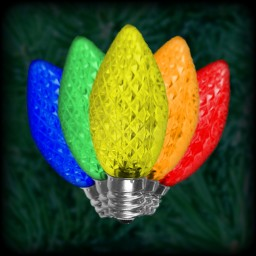 LED multi color C9 Christmas bulbs faceted, replacement, spare, 25 pack, 120VAC