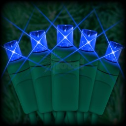 "LED blue Christmas lights 50 5mm mini wide angle LED bulbs 6"" spacing, 23ft. green wire, 120VAC"