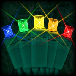 "LED multi color Christmas lights 50 5mm mini wide angle LED bulbs 6"" spacing, 23ft. green wire, 120VAC"