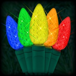 "LED multi color Christmas lights 35 C6 LED strawberry style bulbs 4"" spacing, 12ft. green wire, 120VAC"