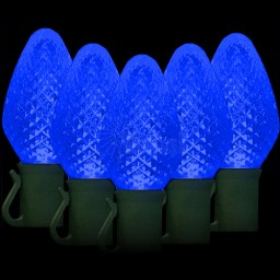 """LED blue Christmas lights 50 C7 faceted LED bulbs 8"""" spacing, 34.2ft. green wire, 120VAC"""