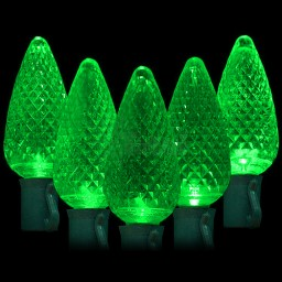"""LED green Christmas lights 50 C9 faceted LED bulbs 8"""" spacing, 34.2ft. green wire, 120VAC"""
