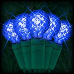 "LED blue Christmas lights 50 G12 mini globe LED bulbs 4"" spacing, 17ft. green wire, 120VAC"