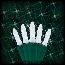 "LED cool white Christmas net light 100 M5 mini LED bulbs 6"" spacing, 4ft x 6ft, green wire, 120VAC"