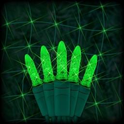 "Bulk LED green Christmas net light 100 M5 mini LED bulbs 6"" spacing, 4ft x 6ft, green wire, 120VAC"