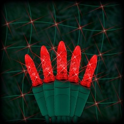 "Bulk LED red Christmas net light 100 M5 mini LED bulbs 6"" spacing, 4ft x 6ft, green wire, 120VAC"