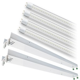 Bulk LED T8 / T12 8ft. CLEAR glass lens 4000K 4 lamp complete retrofit tube kit Natural White light