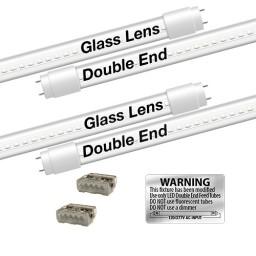 EZ LED T8 CLEAR glass retrofit kit fits 2 tube 4-foot light, Type-B, Double End 4000K Natural White Color