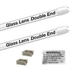 Bulk EZ LED T8 CLEAR glass retrofit kit fits 2 tube 4-foot light, Type-B, Double End 4000K Natural White Color