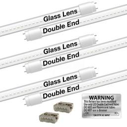 EZ LED T8 CLEAR glass retrofit kit fits 3 tube 4-foot light, Type-B, Double End 4000K Natural White Color
