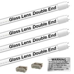 Bulk EZ LED T8 CLEAR glass retrofit kit fits 4 tube 4-foot light, Type-B, Double End 4000K Natural White Color