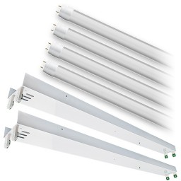 Bulk LED T12 8ft. FROSTED shatterproof glass lens 4000K 4 lamp complete retrofit tube kit Natural White light