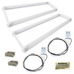 LED T8 U-bend FROSTED lens 2 lamp complete retrofit kit 5000K Cool White light